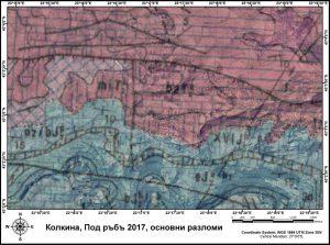 Колкина нанесена върху топография с разломи